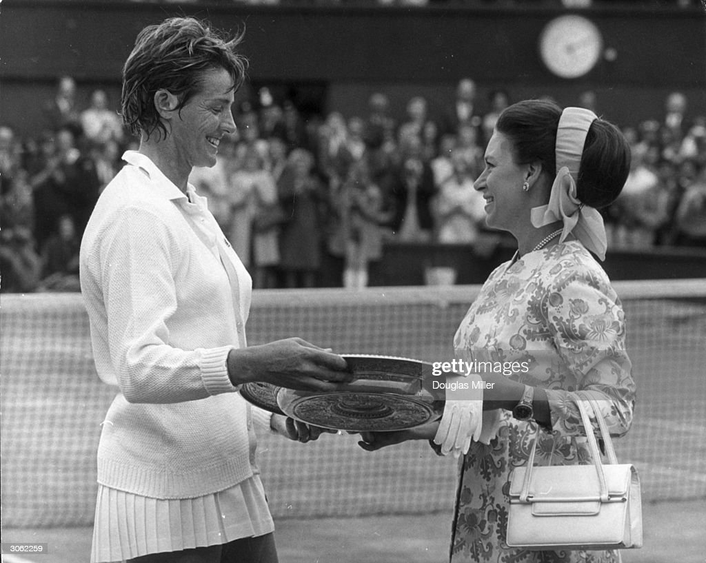 Princess Margaret presenting Australian Margaret Court with the Women's Singles trophy at Wimbledon when she defeated Billie Jean King
