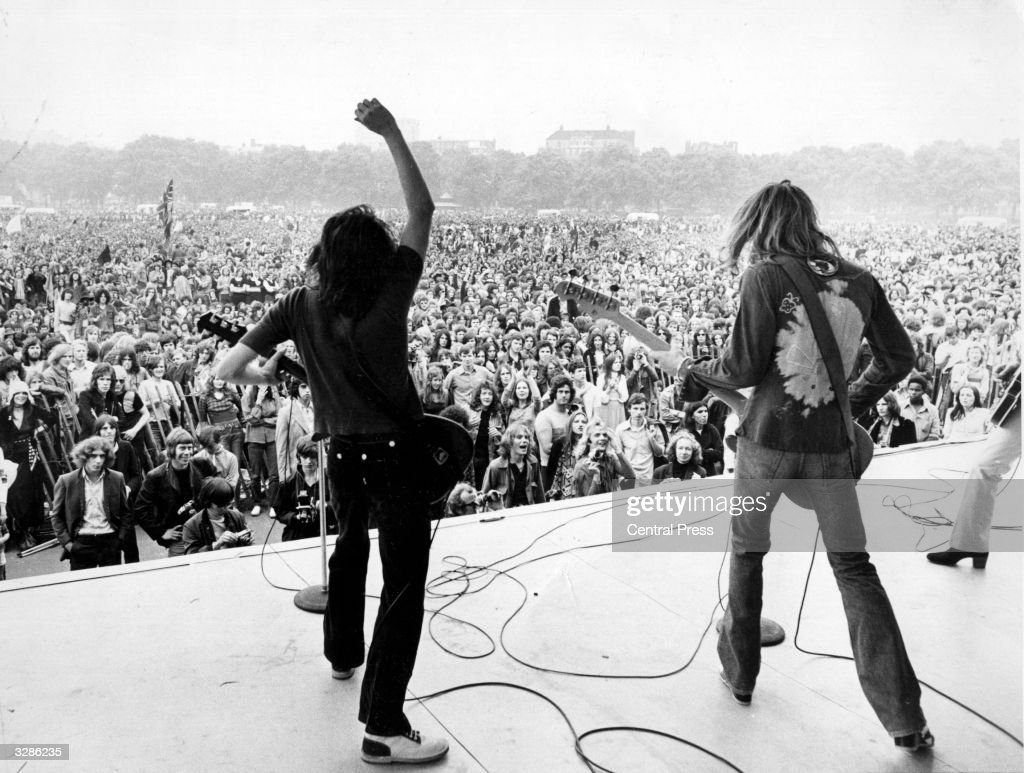 Humble Pie playing a free concert for fans in London's Hyde Park. Steve Marriott (1947 - 1991) is on the left.