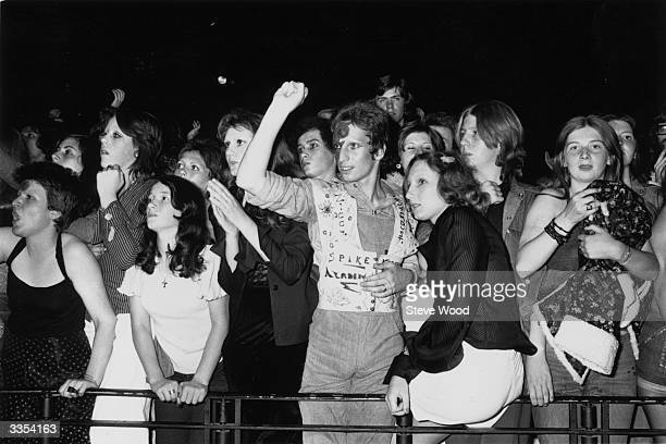 Fans of pop singer David Bowie at the last concert he performed in his Ziggy Stardust persona at the Hammersmith Odeon London