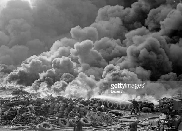 A fire at a rubber dump in Twickenham