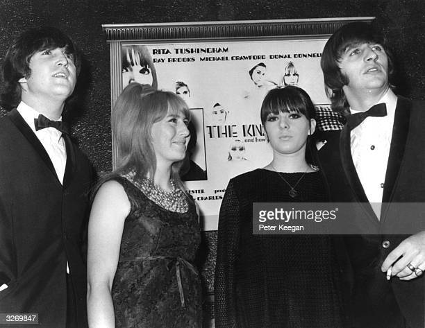 Beatles singer songwriter and guitarist John Lennon left and drummer Ringo Starr right with their respective wives Cynthia centre left and Maureen at...