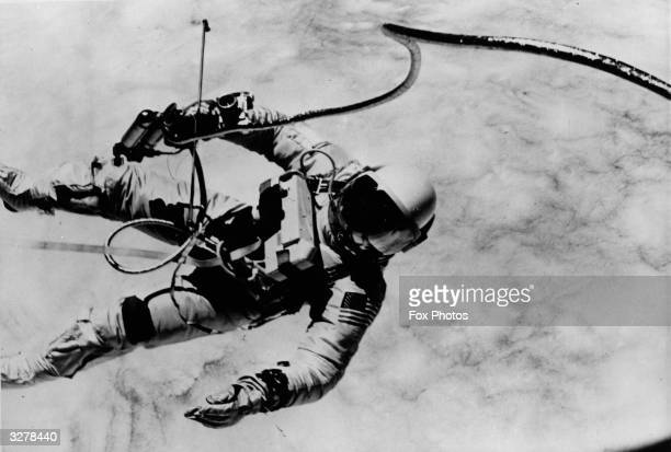 Edward White American astronaut floating in space during the GeminiTitan 4 flight