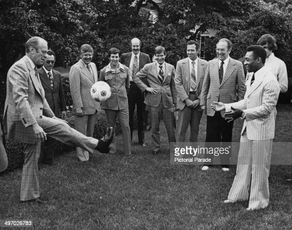 Brazilian footballer Pele with Gerald Ford 38th President of the United States in the grounds of the White House Washington