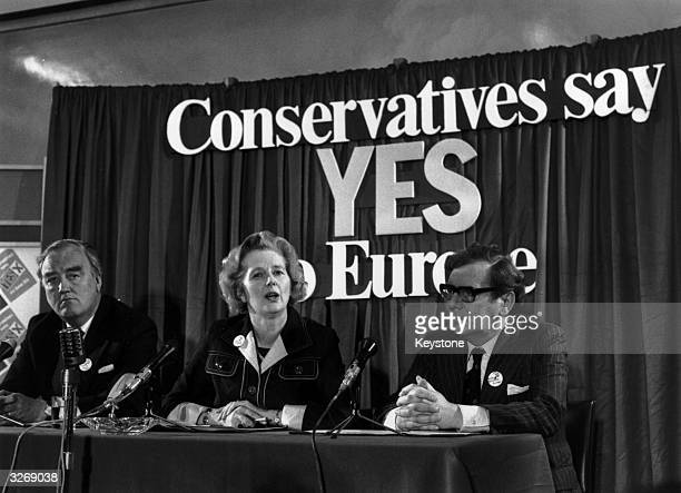 British conservative politician Margaret Thatcher with William Whitelaw and Peter Kirk at a referendum conference on Europe