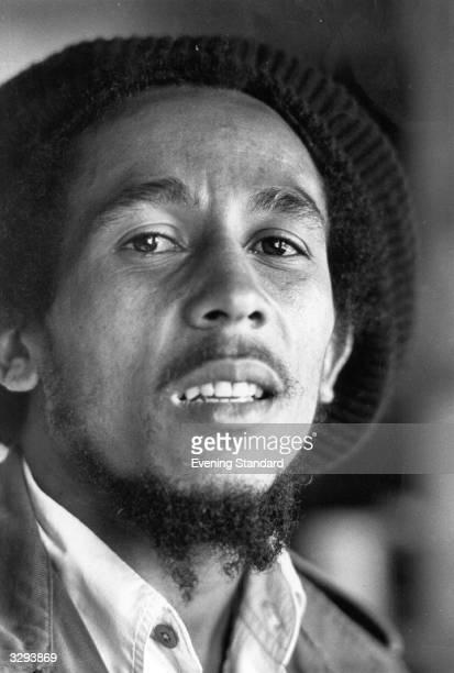 Jamaican reggae singer songwriter and guitarist Bob Marley in London