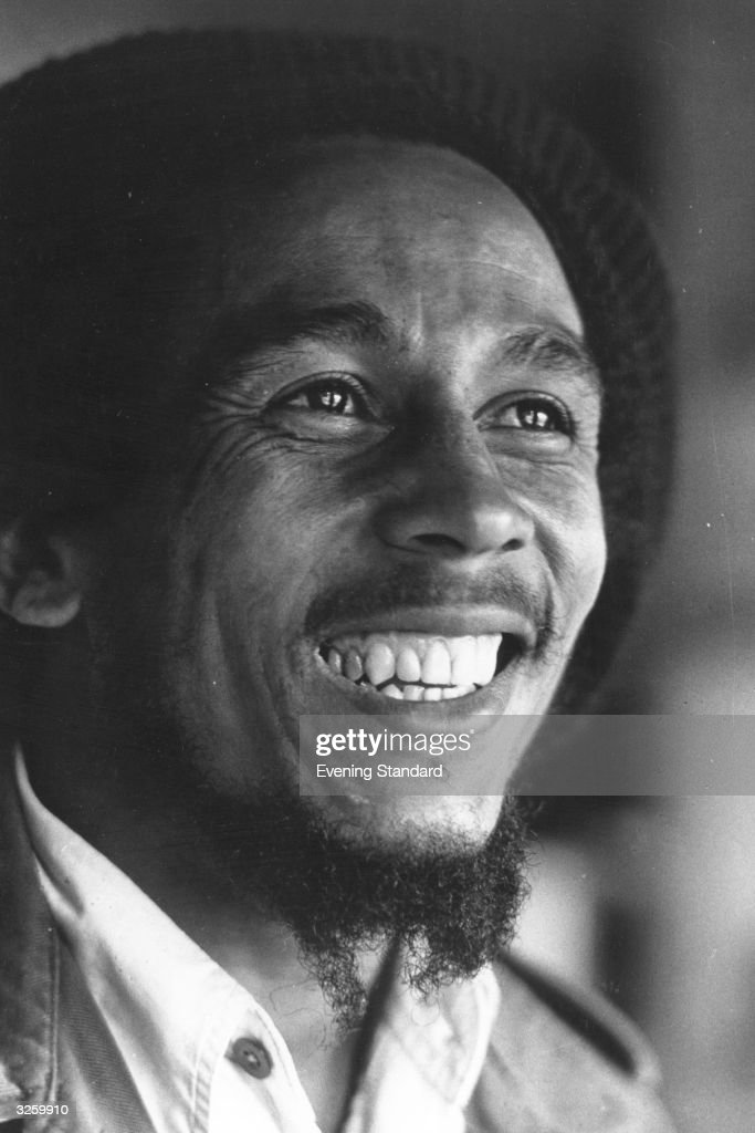 Singer, guitarist and composer of reggae music <a gi-track='captionPersonalityLinkClicked' href=/galleries/search?phrase=Bob+Marley+-+Musician&family=editorial&specificpeople=240470 ng-click='$event.stopPropagation()'>Bob Marley</a>, (1945 - 1981), originally Robert Nesta Marley, in London.