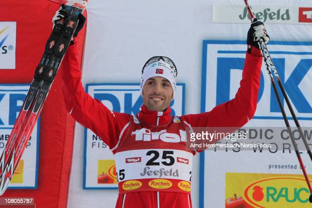 3rd Magnus Moan of Norway poses after the Gundersen Ski Jumping HS 109/10km Cross Country event during day one of the FIS World Cup Nordic Combined...