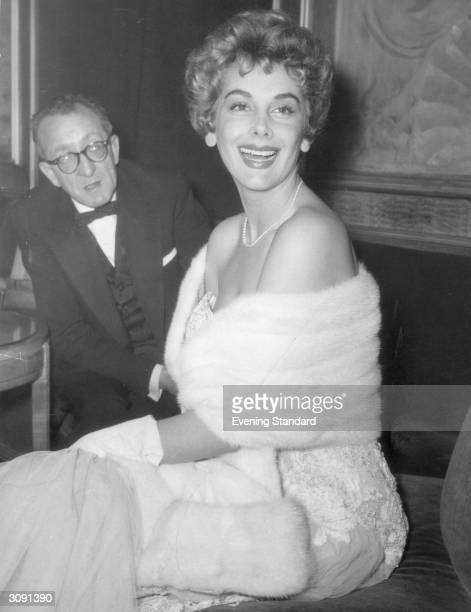 Actress Kay Kendall attending the premiere of 'A Star is Born'