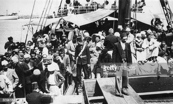 Arab refugees from Haifa Palestine disembarking at Port Said Egypt