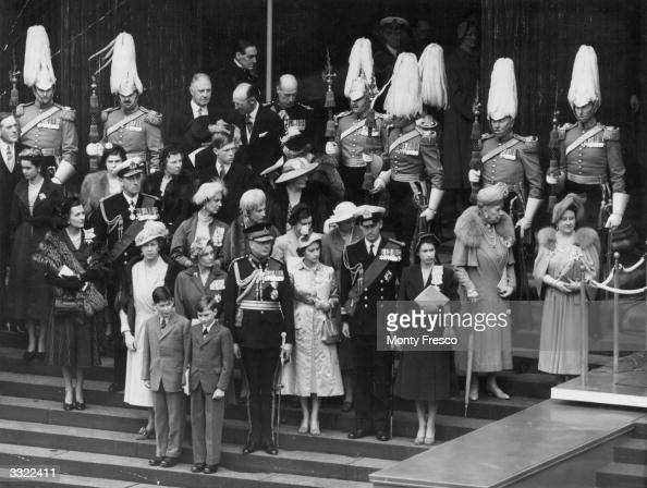 Members of the British Monarchy assembled on the steps of St Paul's Cathedral London during the opening ceremony of the Festival of Britain The...