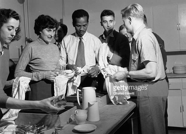 Potential Olympic athletes drying dishes at Lilleshall where 51 of Britain's best athletes are in training for selection for the forthcoming Olympics...