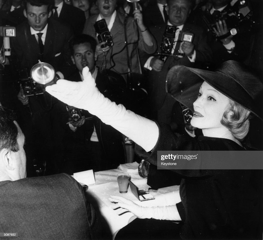 German born American actress Marlene Dietrich (1901 - 1992) at the Hilton Hotel in Berlin.
