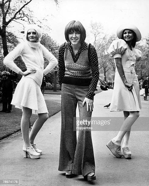 3rd May 1972 Designer Mary Quant poses with two of her Autumn collection outfits that were shown at Londons Savoy hotel