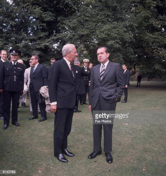 British prime minister Edward Heath chatting with US president Richard Nixon at Chequers in Buckinghamshire the official country residence of the...