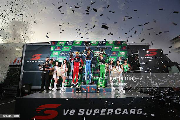 3rd place Fabian Coulthard driver of the Freightliner Racing Holden VF Commodore 1st place Mark Winterbottom driver of the Prodrive Racing Australia...