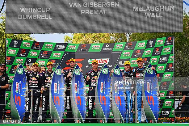3rd place Paul Dumbrell and Jamie Whincup drivers of the Red Bull Racing Australia Holden Commodore VF 1st place Shane Van Gisbergen and Alex Premat...