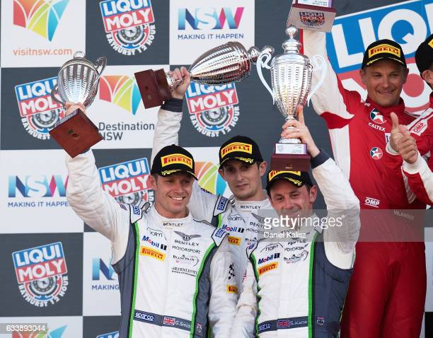3rd place Steven Kanbe Guy Smith and Oliver Jarvis of the Bentley Team MSport Bentley Continental GT3 celebrate on the podium during the 2017...
