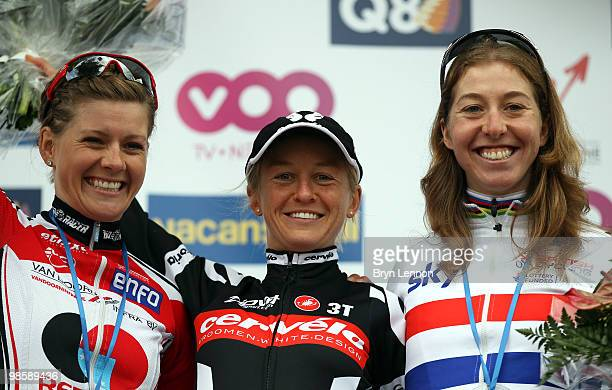 3rd placed Emma Johansson of Sweden and Redsun Cycling Team race winner Emma Pooley of Great Britain and the Cervelo Test Team and 2nd placed Nicole...