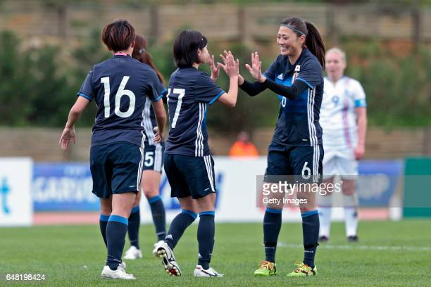 Players Mina Tanaka Yui Hasegawa and Rumi Utsugi of Japan Women celebrating their goal during the match between Japan v Iceland Women's Algarve Cup...