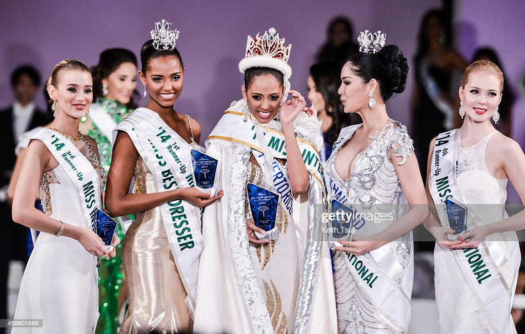 3rd Runner Up, Miss United Kingdom Victoria Charlotte Tooby, 1st Runner Up, Miss Columbia Zuleika Suarez, Winner, Miss Puerto Rico Valerie Hernandez Matias, 2nd Runner up, Miss Thailand <a gi-track='captionPersonalityLinkClicked' href=/galleries/search?phrase=Punika+Kulsoontornrut&family=editorial&specificpeople=13699446 ng-click='$event.stopPropagation()'>Punika Kulsoontornrut</a>, and 4th Runner Up, Miss Finland <a gi-track='captionPersonalityLinkClicked' href=/galleries/search?phrase=Milla+Romppanen&family=editorial&specificpeople=13719019 ng-click='$event.stopPropagation()'>Milla Romppanen</a> appear on stage during The 54th Miss International Beauty Pageant 2014 at Grand Prince Hotel New Takanawa on November 11, 2014 in Tokyo, Japan.