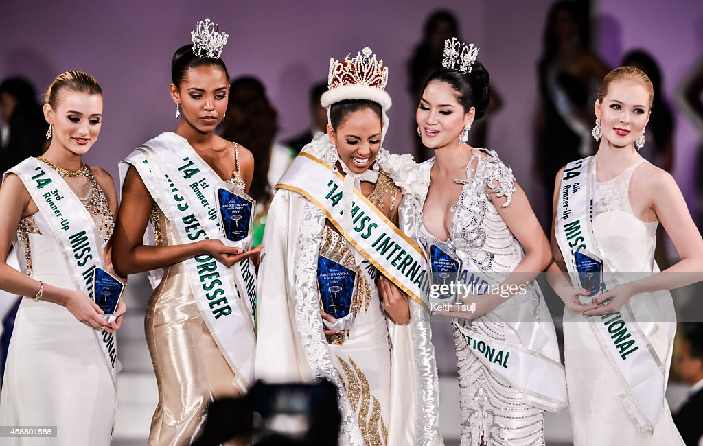 3rd Runner Up, Miss United Kingdom Victoria Charlotte Tooby, 1st Runner Up, Miss Columbia Zuleika Suarez, The Winner, Miss Puerto Rico Valerie Hernandez Matias, 2nd Runner up, Miss Thailand <a gi-track='captionPersonalityLinkClicked' href=/galleries/search?phrase=Punika+Kulsoontornrut&family=editorial&specificpeople=13699446 ng-click='$event.stopPropagation()'>Punika Kulsoontornrut</a>, and 4th Runner Up, Miss Finland <a gi-track='captionPersonalityLinkClicked' href=/galleries/search?phrase=Milla+Romppanen&family=editorial&specificpeople=13719019 ng-click='$event.stopPropagation()'>Milla Romppanen</a> appear on stage during The 54th Miss International Beauty Pageant 2014 at Grand Prince Hotel New Takanawa on November 11, 2014 in Tokyo, Japan.