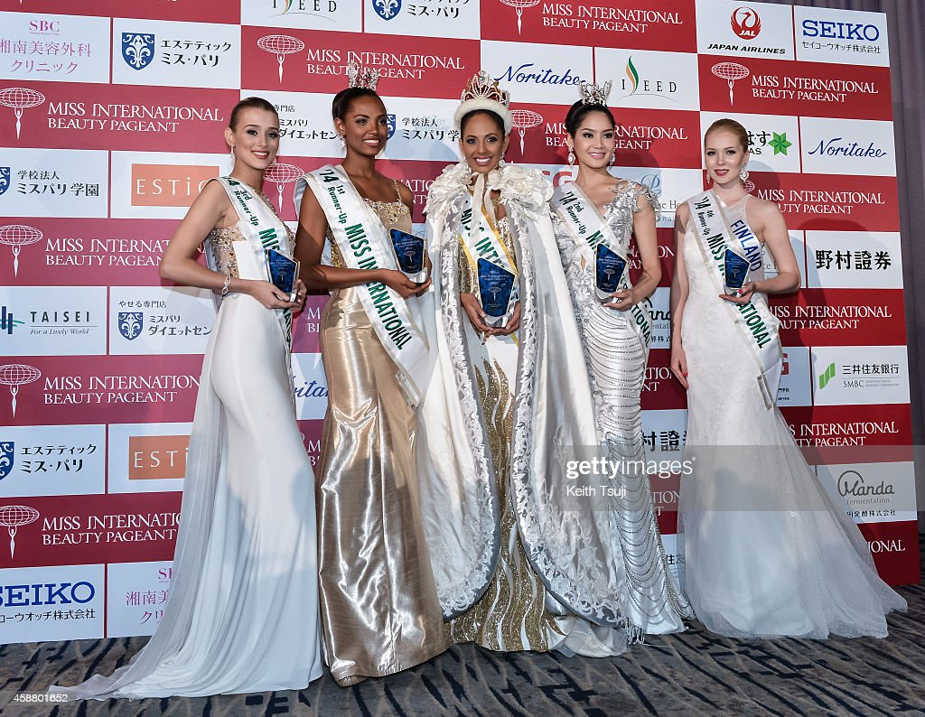 3rd Runner Up, Miss United Kingdom Victoria Charlotte Tooby, 1st Runner Up, Miss Columbia Zuleika Suarez, The Winner, Miss Puerto Rico Valerie Hernandez Matias, 2nd Runner up, Miss Thailand <a gi-track='captionPersonalityLinkClicked' href=/galleries/search?phrase=Punika+Kulsoontornrut&family=editorial&specificpeople=13699446 ng-click='$event.stopPropagation()'>Punika Kulsoontornrut</a>, and 4th Runner Up, Miss Finland <a gi-track='captionPersonalityLinkClicked' href=/galleries/search?phrase=Milla+Romppanen&family=editorial&specificpeople=13719019 ng-click='$event.stopPropagation()'>Milla Romppanen</a> pose for photo at The 54th Miss International Beauty Pageant 2014 at Grand Prince Hotel New Takanawa on November 11, 2014 in Tokyo, Japan.