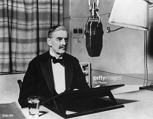 British Prime Minister Neville Chamberlain in a BBC studio announcing the declaration of war