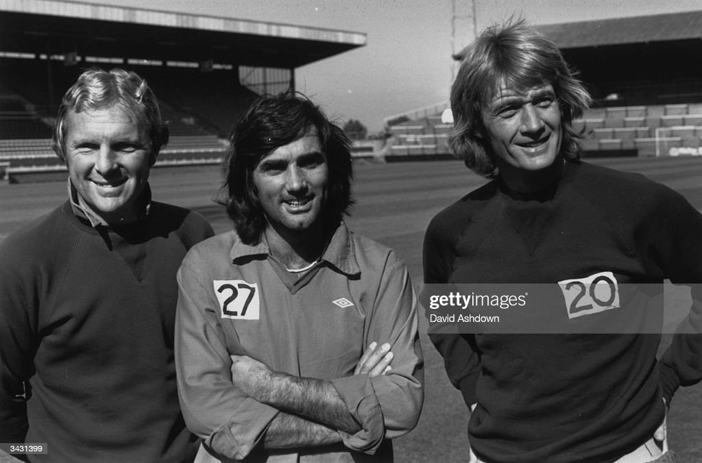 Fulham footballers Bobby Moore George Best and Rodney Marsh at Craven Cottage London Best has just been given the goahead by the Football League to...