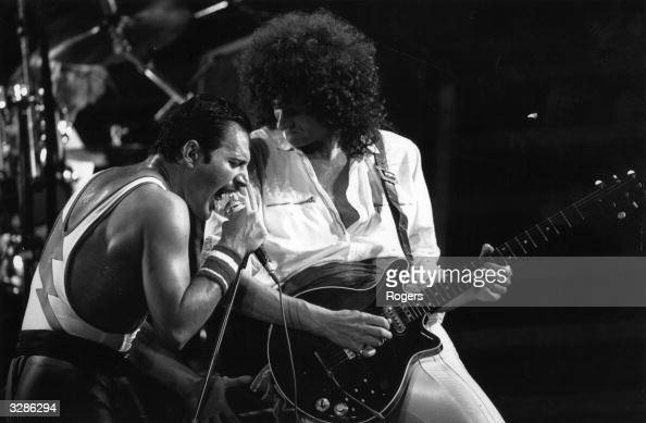 British rock group Queen in concert with singer Freddie Mercury and guitarist Brian May