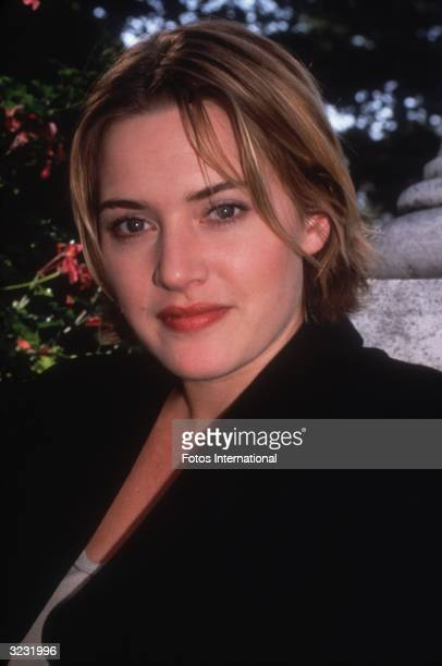 Headshot of British actor Kate Winslet wearing a black blazer outdoors at the Venice Film Festival Venice Italy