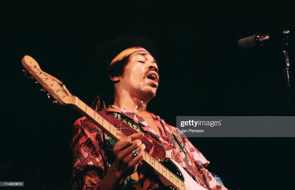 Jimi Hendrix performs live on stage at the KBHallen in Copenhagen Denmark on 3rd September 1970