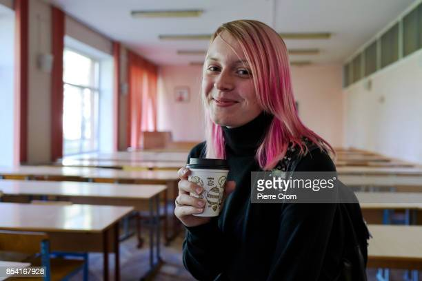 3rd year law student Helena from Belarus portrayed in a class room as 28 international law students from the United Kingdom Belarus Russia Ukraine...