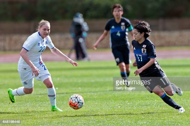 Yui Hasegawa of Japan Women challenges Rakel Honnudottir of Iceland Women during the match between Japan v Iceland Women's Algarve Cup on March 3rd...