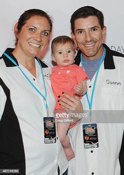 Time Olympic Gold Medalist Beach Volleyball Misty MayTreanor retired MLB catcher Matt Treanor and daughter Malia pose before the 4th Annual Stars and...