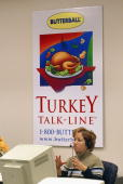 3yearveteran Butterball Turkey TalkLine home economist Sylvia Klinger answers questions on her telephone headset at the Butterball Turkey TalkLine...