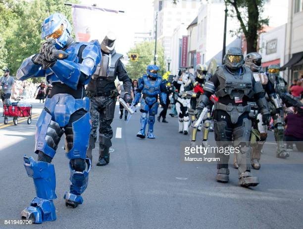 405th Infantry Division character attends the 2017 DragonCon Parade on September 2 2017 in Atlanta Georgia DragonCon is a multimedia convention held...