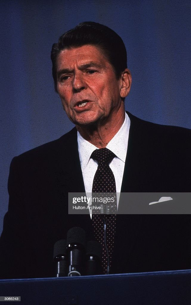 40th president of the United States of America and former film and television actor Ronald Reagan during a TV debate with Jimmy Carter just before...