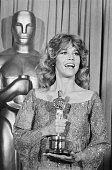 4/10/1979Hollywood CAActress Jane Fonda wears a giant smile as she holds her Oscar for 'Best Actress in a Leading Role' which she won at the 51st...