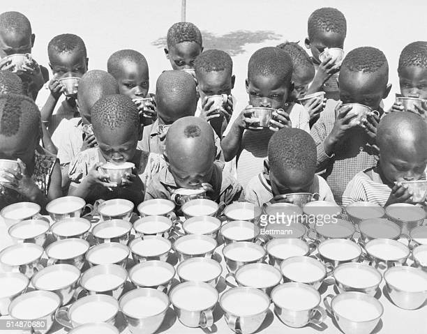 4/11/1970Moundou South Chad Kindergateners learn about nutrition at a morning milk break in Moundou