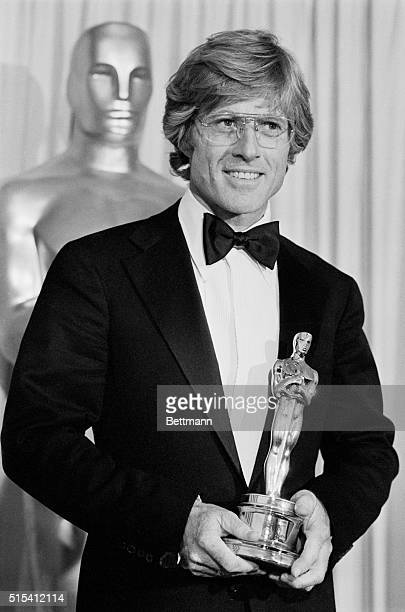 4/1/1981Hollywood CA Robert Redford admires his Oscar after he won it for Best Achievement for Directing in the movie Ordinary People The Oscar was...
