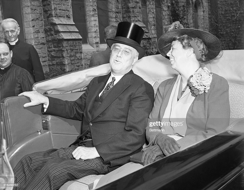 Washington D.C.- The President and Mrs. Roosevelt are shown with their Easter smiles, leaving St. Thomas' Episcopal Church, where they heard a prayer for the defeat of 'Tyranny and Aggression.' The first lady attended the services in her new violet Easter outfit.