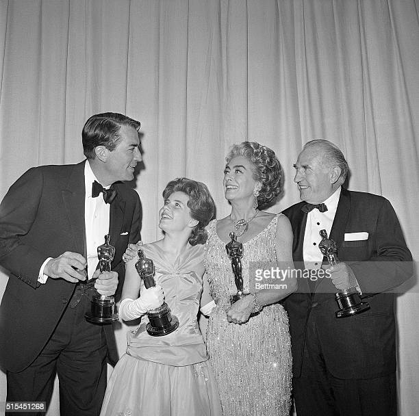 4/18/1963Santa Monica CaliforniaOscar winners are shown at the 35th Annual Academy Awards Gregory Peck Best Actor for his role in 'To Kill a...