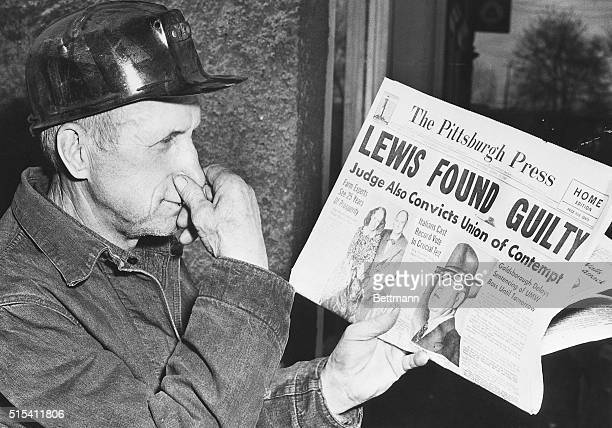 4/19/1948Coverdale PAValentine Dolenc 65yearold miner indicates his opinion of the court ruling on the case of John L Lewis and the United Mine...