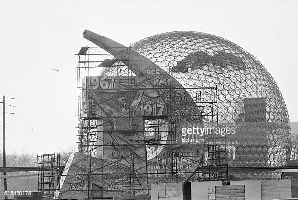 4/19/1967Montreal Canada The pavilions of the USSR and the US appear almost ready for the April 28th opening of Canada's international exposition...