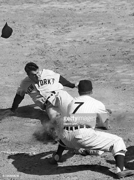 4/19/1978Washington DC Joe Dimaggio of the World Champion New York Yankees slides safely into third base after McQuinn's single to center in the...