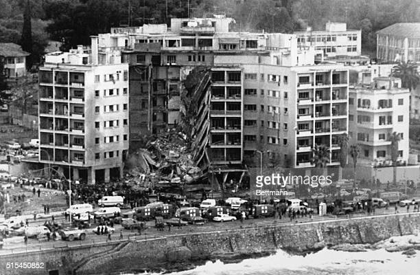4/19/1983Beirut Lebanon Aerial view of the United States embassy after a bomb destroyed part of the building 4/18 The whole front center section of...