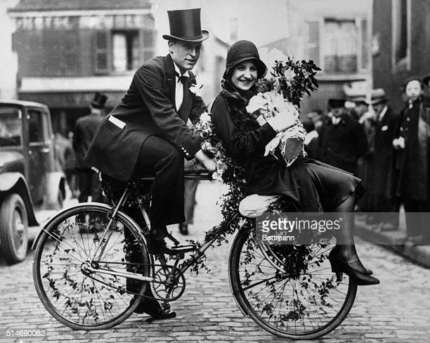 4/2/1930Paris France What may portend the return of the lowly bicycle to the realm of fashion is this startling parisian bridal conveyance upon which...