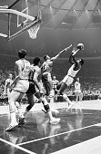 4/24/1970New York NY Knicks' Willis Reed attempts to shoot the ball over the outstretched arm of Wilt Chamberlain as Dave DeBusschere and Elgin...