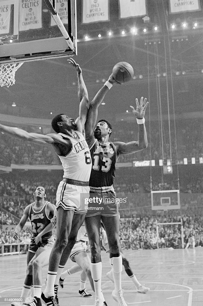4/27/1969Boston Massachusetts In the LakersCeltics match Wilt Chamberlain of the Los Angeles Lakers challenges Bill Russell of the Boston Celtics as...