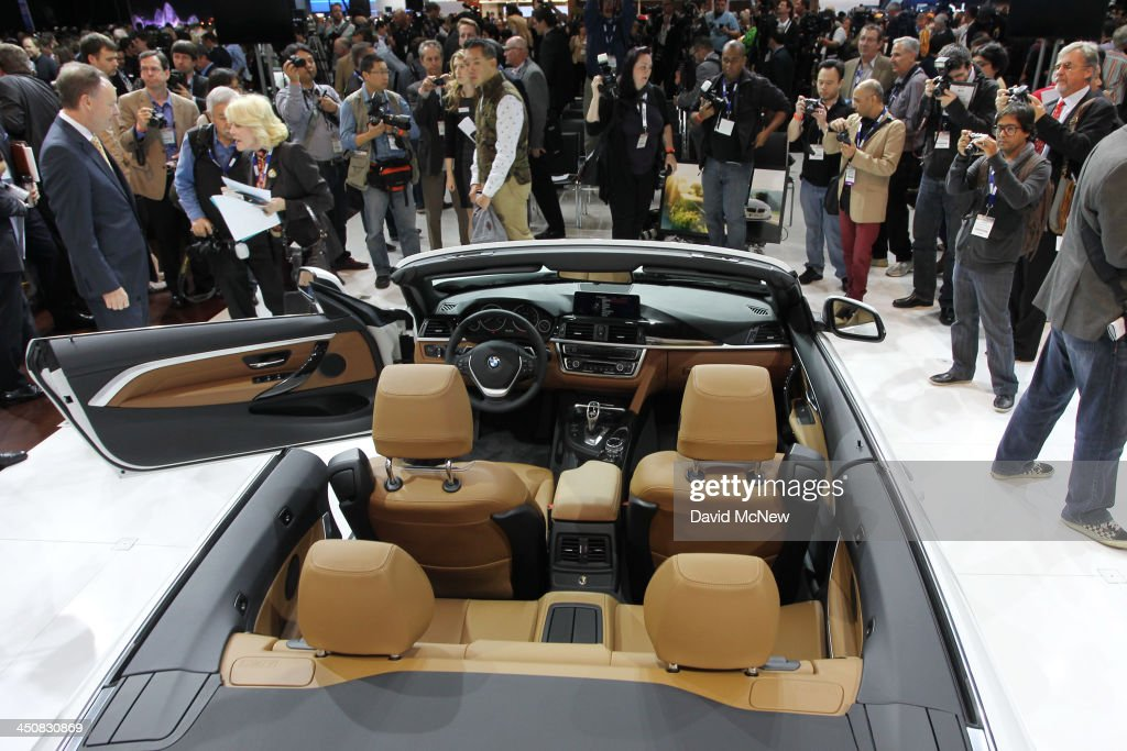 BMW 428i convertible is shown during media preview days at the 2013 Los Angeles Auto Show on November 20, 2013 in Los Angeles, California. The LA Auto Show was founded in 1907 and is one of the largest with more than 20 world debuts expected. The show will be open to the public November 22 through December 1.